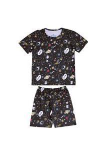 Pijama Juvenil Abrange Espaço Preto Abrange Casual Preto