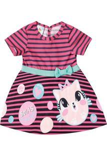 Vestido Evasê Listrado Infantil Zig Zig Zaa Rosa Claro - M