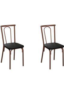 Conjunto Com 2 Cadeiras Albury Preto E Cobre