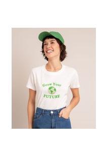 """Camiseta Oversized De Algodão """"Grow Your Future"""" Manga Curta Decote Redondo Estampada Off White"""