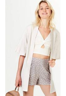 Casaco Kimono Feminino Em Viscose Com Linho
