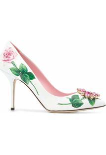 Dolce & Gabbana Scarpin Tropical Rose Com Aplicação De Cristais - Branco
