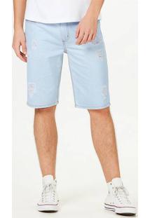 Bermuda Jeans Masculina Slim Destroyed