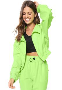 Jaqueta Cropped Fiveblu Faixa Neon Verde