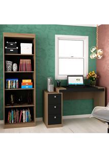 Escrivaninha Com 3 Gavetas E Estante Para Escritório-Ho-2955-Hecol - Avela / Onix