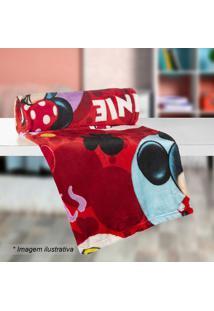 Manta Fleece Solteiro Minnie®- Vermelha & Amarela- 1Lepper