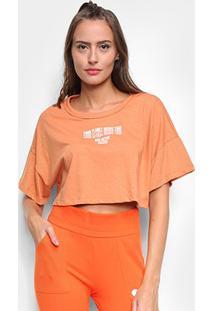 Camiseta Cropped Colcci Eco Active Feminina - Feminino-Laranja+Branco
