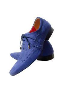 Sapato Masculino Italiano Em Couro Oxford Azul Blue Heaven