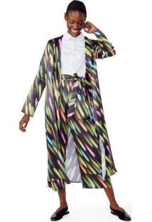 Kimono Manga Longa Estampado