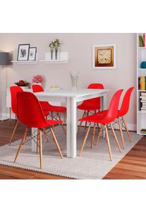 Conjunto De Mesa Cogma Com 6 Cadeiras Eames Base Madeira Branco E Vermelho