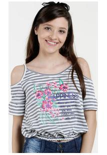 459a63f9d3 Blusa Juvenil Open Shoulder Estampa Floral Marisa