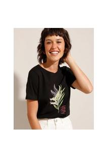 """Camiseta De Algodão """"Cultive O Bem"""" Manga Curta Decote Redondo Preto"""