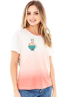 T-Shirt Amora Café Com Estampa Laranja