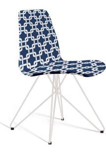Cadeira De Jantar Eames Butterfly Branco E Azul