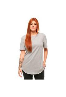 Camiseta Longline Feminino Manga Curta C1F-Cinza Claro