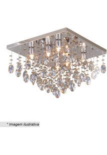 Plafon Quadrado- Inox & Cristal- 16X42X42Cm- Bivhevvy