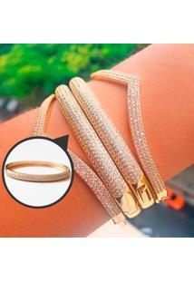 Bracelete Cravejado Com Zircônias Brancas Folheado A Ouro.