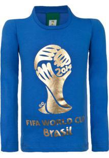 Camiseta Licenciados Copa Do Mundo Fifa Ouro Juvenil Azul