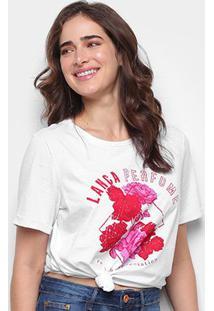 Camiseta Lança Perfume Descolada Roses Feminina - Feminino-Branco