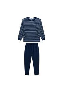 Conjunto Pijama Listras Marinho Onda Marinha Multicolorido