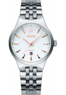 Relógio Skmei Analógico 9071 - Feminino-Branco+Azul