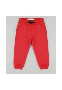 Calça Infantil Em Moletom Felpado Vermelha