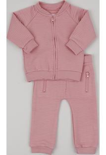 ba9b1e441b Conjunto Infantil De Blusão Em Moletom Canelado + Calça Rosa