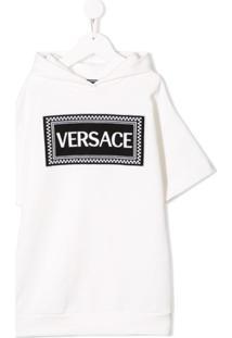 Young Versace Vestido Moletom Com Patch - Branco