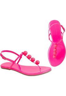 Rasteira Flat Bolinhas Mercedita Shoes Confortável Dia A Dia Casual - Feminino-Pink