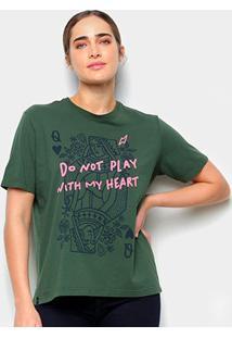 Camiseta T-Shirt Cantão Classic Heart Feminina - Feminino-Verde Escuro