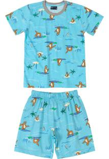 Pijama Infantil Preguiça Azul