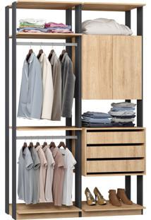 Closet 2 Portas 3 Gavetas 9014 Carvalho/Espresso - Bentec