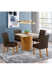 Conjunto De Mesa Com 4 Cadeiras Para Sala De Jantar Vitoria-Henn - Nature / Off White / Marrom