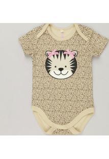 1162071d0d Body Infantil Onça Estampado Animal Print Manga Curta Decote Redondo Em  Algodão + Sustentável Bege