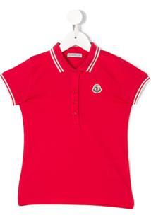 Moncler Kids Camisa Polo Com Acabamento Listrado - Rosa