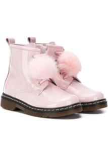 Monnalisa Ankle Boot Com Detalhe De Pompom - Rosa