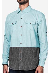 Camisa Turquesa E Mescla 200024