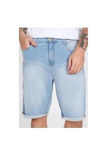 Bermuda Jeans Dzarm Reta Barra Italiana Azul