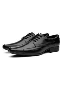Sapato Social Masculino Cadarço Mr Shoes Em Couro 1007 - Preto