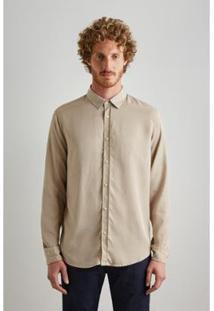 Camisa Regular Lyocel Reserva Masculina - Masculino-Bege