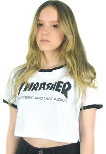 Camiseta Crop Thrasher Magazine Skate Mag Branca