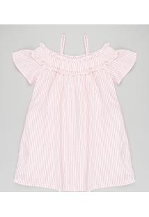 Vestido Infantil Open Shoulder Listrado Manga Curta Coral