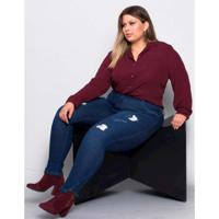 0d5ef9b7d062 Camisa Palank Plus Size Lisboa Feminina - Feminino-Vinho