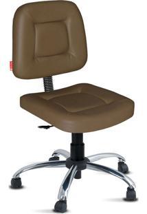Cadeira Escritório Marrom Giratória Cromada