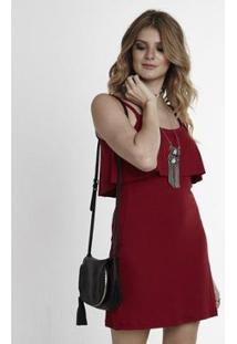 Vestido Manola Liso De Alça Fina - Feminino-Vermelho