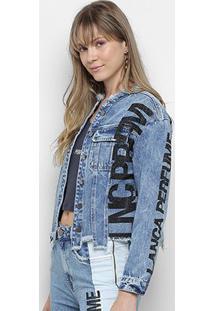 Jaqueta Jeans Lança Perfume C/ Apliques Feminina - Feminino-Azul