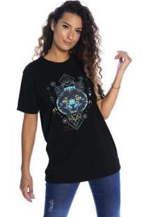 Camiseta Pina Colada Boyfriend Gato Cibernético Feminina - Feminino-Preto