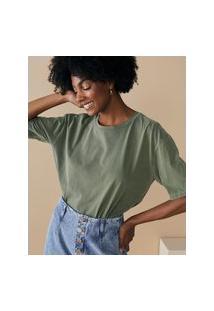 Amaro Feminino T-Shirt Oversized Estonada Gola Redonda, Verde Militar