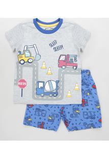 Pijama Infantil Caminhões Manga Curta Cinza Mescla Claro