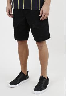 Bermuda De Sarja Masculina Slim Em Moletom Com Cordão E Bolsos Preta
